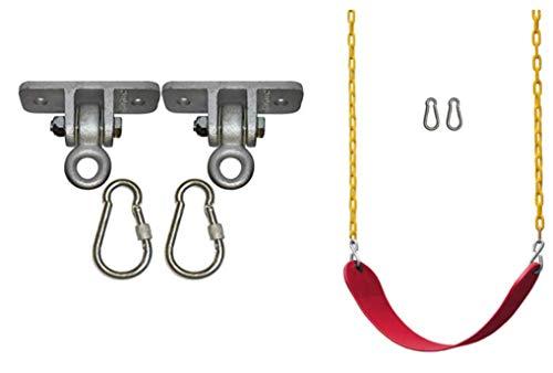 Jungle Gym Kingdom - Asiento de columpio resistente con cadena de plástico de 65.7in y resistente – Combo de bricolaje