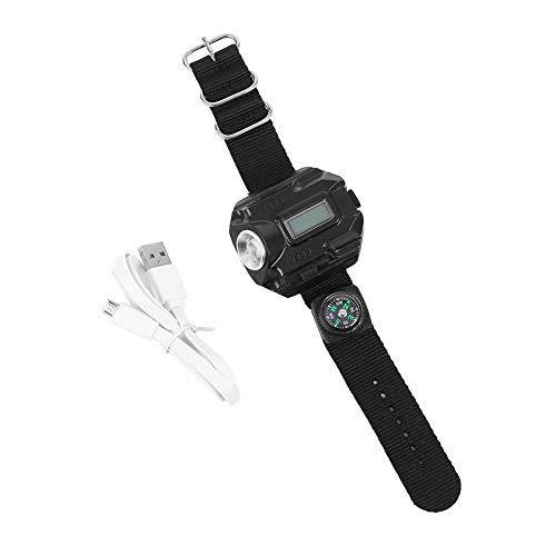 Linterna de muñeca Antorcha de luz USB recargable resistente al agua Reloj de linterna LED con brújula para correr Escalada de montaña Supervivencia de acampar Senderismo Patrulla de caza