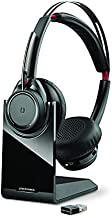 Plantronics - Voyager Focus UC with Charge Stand (Poly) - Bluetooth Dual-Ear (Stereo) Headset with Boom Mic - USB-A Compatible with PC and Mac - Active Noise Canceling - Works with Teams, Zoom & More