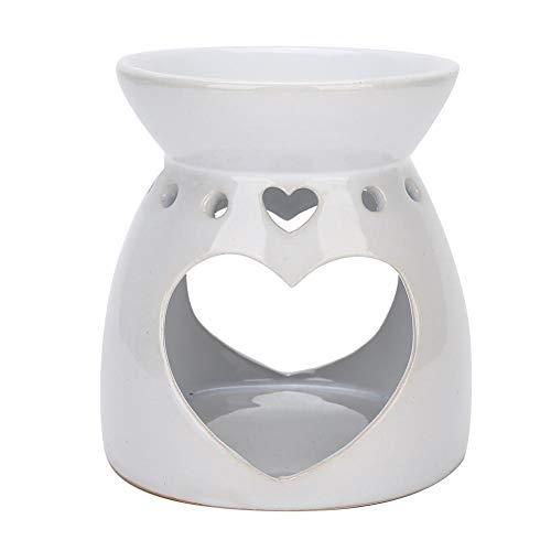 Lampada Aroma, lampada profumata in ceramica bianca con cucchiaio a candela Diffusore Aroma con portacandela Forma a doppio cuore(bianca)