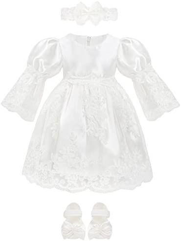 Lilax Baby Girl Newborn Christening Baptism 3 4 Sleeve Lace White Dress Gown 4 Piece Deluxe product image