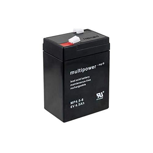 Powery Recambio de Batería para Linterna Halógena Johnlite 6V 4,5Ah (Reemplaza también 4Ah 5Ah)