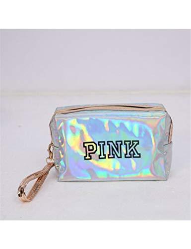 MARRY Sac Cosmétique Sequin Cosmetic Bags Trousse De Maquillage De Mode pour Femmes en Cuir PU Étanche Cosmetic Organizer Bag Pink Square Packet, Silver