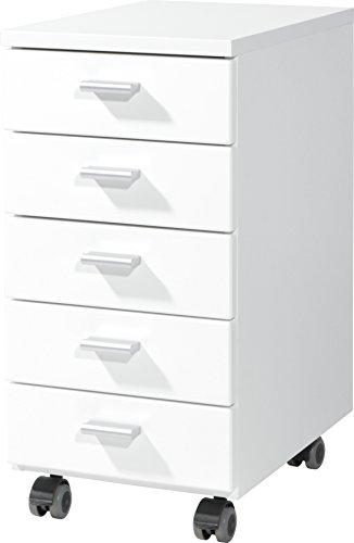 Germania Rollcontainer 4099-84 mit 5 Schubkästen, in Weiß, 28 x 57 x 40 cm (BxHxT)
