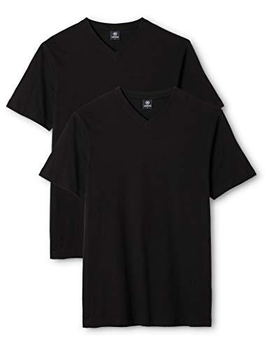 LERROS Herren LERROS Herren T-Shirt mit V-Ausschnitt Doppelpack T-Shirt,,per pack Schwarz (Black 200),Large