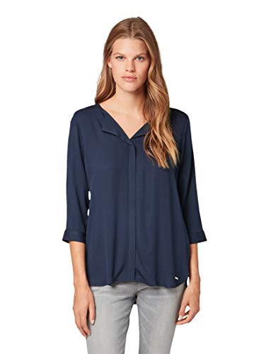 TOM TAILOR Damen Fließende Bluse, Blau (Real Navy Blue 10360), Large (Herstellergröße: L)