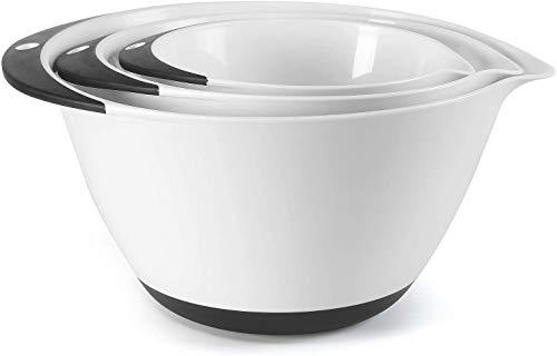PICKWILL Schüsselset 3-teilig, Schüsseln für die Küche, Multifunktional als Rührschüssel, Salatschüssel, Servierschüssel mit rutschfestem Boden, Größe 1,5L, 3L, 5L, Weiß