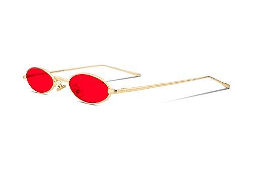 FEISEDY Gafas de sol pequeñas de época Oval Marco de metal delgado Colores de caramelo B2277