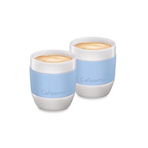 Tchibo Cafissimo Becher oder Tassen aus Porzellan mit Silikonmanschette, 2er Set (Espressotassen, hellblau)