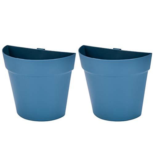 Generico 2PCS della Parete Semicircolare Fioriera di Plastica Appeso Fioriere Vaso di Fiori Succulente Planter Idroponica Fioriera Indoor Outdoor Decor Blu