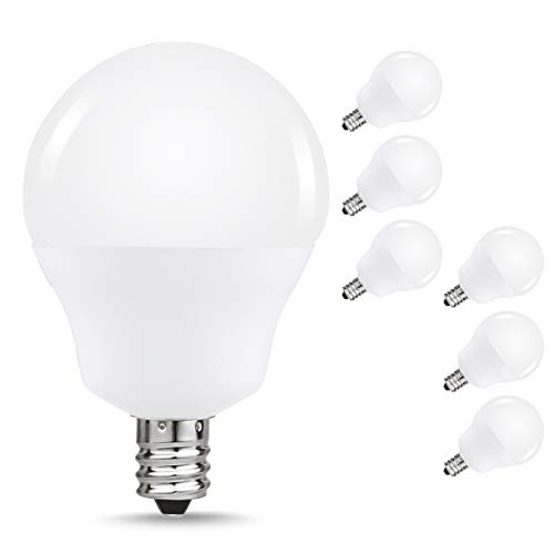 40W Equivalent LED Candelabra Light Bulbs, JandCase G14 Globe Blubs for Ceiling Fan, Vanity Mirror Light, 5W, 450lm, Daylight White 6000K, Bright White, Suitable for Bathroom, Living Room, 6 Pack