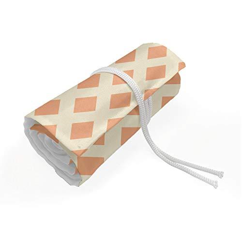 ABAKUHAUS Geometrisch Mäppchen Rollenhalter, Diagonal Fliesen, langlebig und tragbar Segeltuch Stiftablage Organizer, 72 Schlaufen, blasse orange