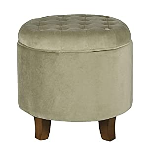 OTTOMAN WITH STORAGE: Our Velvet Tufted Ottoman features a lift off lid with all over button tufting for a classic style to complement your living room furniture ROUND OTTOMAN: Upholstered in soft and durable velvet in a classic neutral cream our foo...