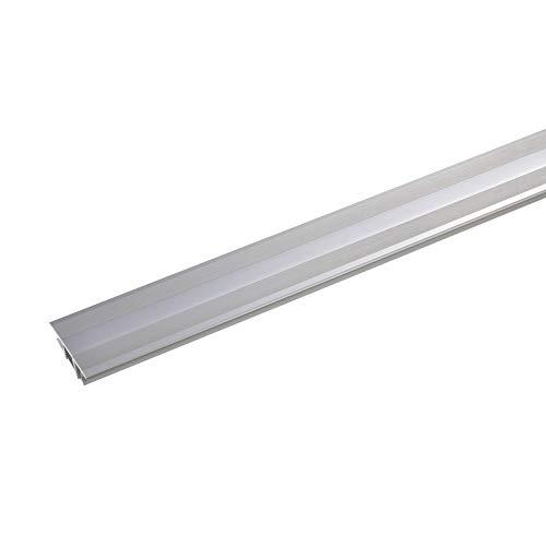 acerto 36946 Übergangsprofil Aluminium, 2-teilig - 100cm, 7-10mm edelstahlfarbig * Rutschhemmend * Kratzfest | Übergangsleiste für Teppich-Boden, Laminat & Parkett | Alu-Übergangsschiene,zum Klicken
