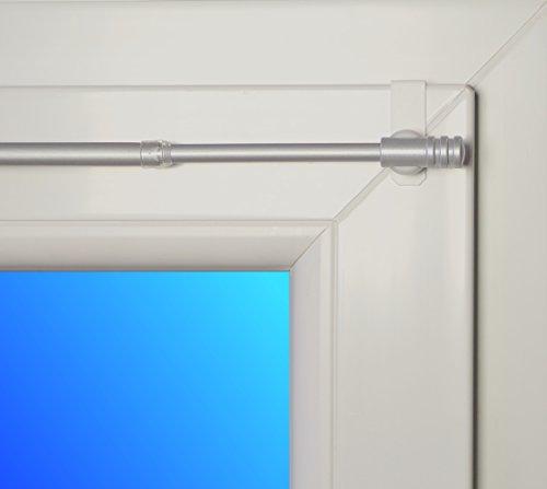 dekondo Gardinenstange Rapid Fix-klick 35-55cm ausziehbar Nickel (für Fensterdicke 15-20mm) Klemmstange/Spannfix