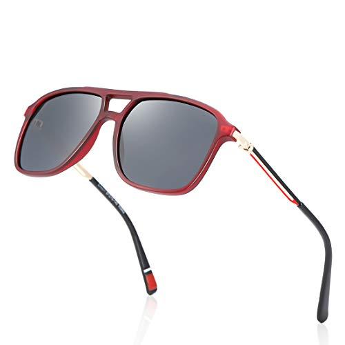 kimorn Gafas De Sol Polarizadas Clásicas De Lente Reflejada UV Cortinas Retro De Metal K0802 (Rojo transparente)