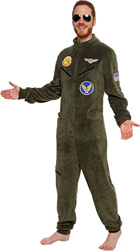 Silver Lilly One Piece Fighter Pilot Costume - Adult Novelty Flight Suit Jumpsuit Pajamas (Olive, Medium)