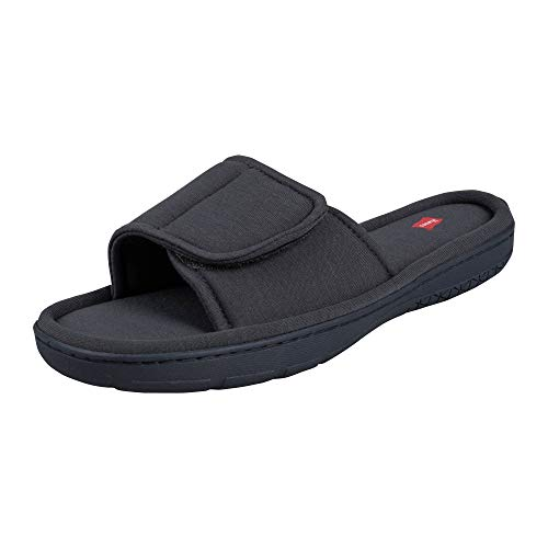 Hanes Men's Velcro Open Toe Slide Slipper with Indoor/Outdoor Sole,...