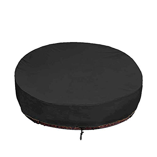 Mitef Waterproof Round Canopy Daybed Sofa Cover,Heavy Duty Outdoor Patio Furniture Air Vent Cover,90DIAx33 H(228DIAx84cm),Black