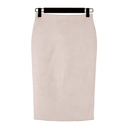 JJDSL Faldas para Mujer,Pretty Moda Mujeres Faldas Más Tamaño Stretchy Rodilla-Longitud Lápiz Falda Femenina Vintage Ante Split Falda para Bodycon Trabajo,Beige,XL
