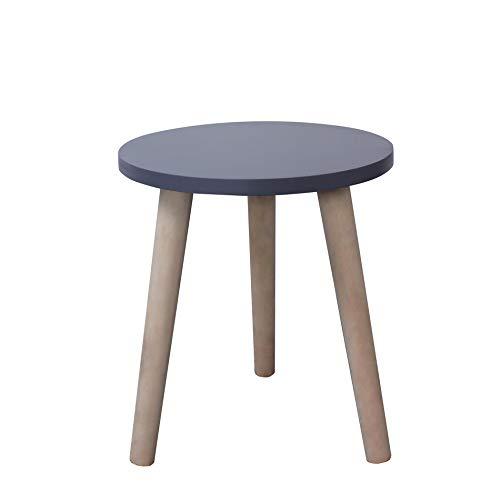 Rebecca Mobili Tavolino rotondo contemporaneo, tavolo da appoggio grigio, legno paulownia mdf, camera da letto salotto - Misure 39 x 34 x 34 cm (HxLxP) - Art. RE6120