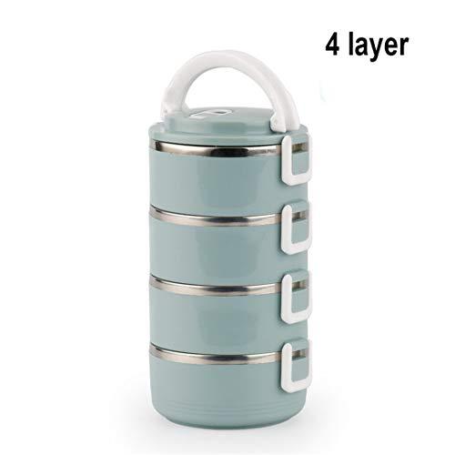 Acero Inoxidable Termo Box Lunch para los niños japoneses Adultos Bento Caja a Prueba Fugas portátil, Lunchbox 4 Layer (Blue)