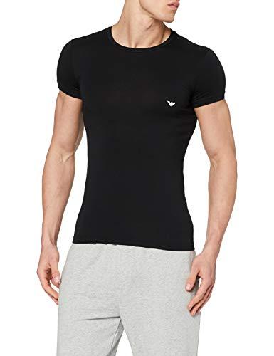 Emporio Armani 111035CC729, T-shirt Uomo cotone elasticizzato, Nero (Nero 00020), Large