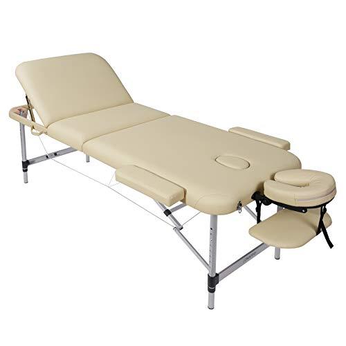 Naipo Massageliege Massagetisch Beauty Bed Faltbar Höhenverstellbar 3 Zonen Aluminiumfüße mit Premium-PU-Leder und hochdichtem mehrschichtigem Schaumbeige 14,5 kg (Tragfähigkeit 270 kg)