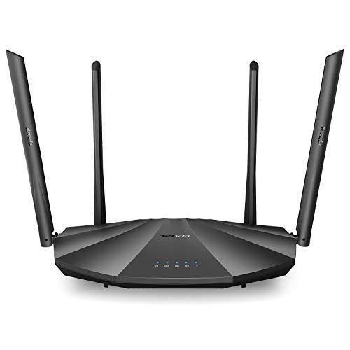 Tenda AC19 DualBand Gigabit WLAN-Router AC2100, 4 Gigabit LAN Ports(2.4 GHz 300Mbps, 5GHz 1733Mbps, USB 2.0, MU-MIMO, Für Glasfaser, IPV6) schwarz