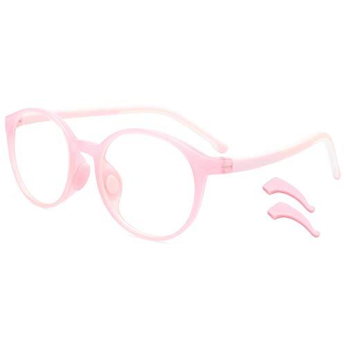 Livho Kids Blue Light Blocking Glasses, Computer Gaming TV Glasses for Boys Girls Age 3-15 Anti Glare & Eyestrain & Blu-ray Filter (Pink)