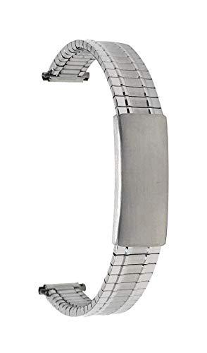 Bandini 13mm Silber Ton Edelstahl Stretch Uhrenarmband für Damen - Gerades Ende - Verstellbare Länge Uhrenarmband, Ersatzband Metall-Dehnungsarmband für Uhren - Keine Schließe