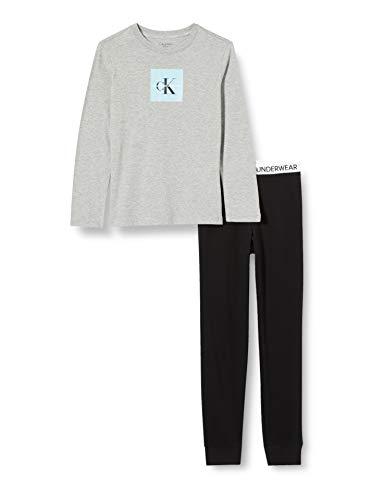 Calvin Klein Knit PJ Set (LS+Cuffed) Juego de Pijama, Greyheatherw/Pvhblack, 10/12 para...
