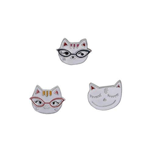 3Pc/Set Fashion Flower Metal Pins Denim Badge Cute Animal Cat Penguin Panda Rabbit Bee Women Brooch Pin Jewelry Accessories-Cat