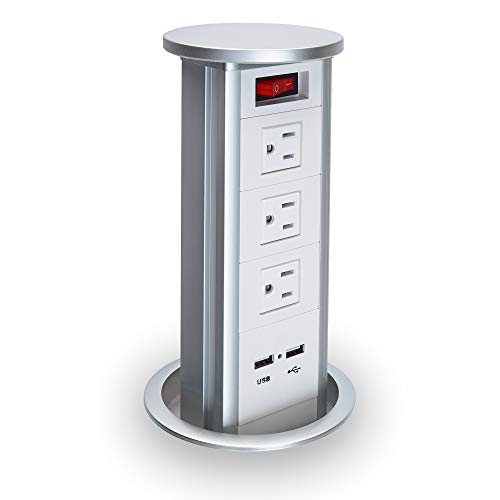 BTU Automatic Raising Surge Protector Pop up Power Strip Outlet Retractable Hidden Recessed Power Socket with 2 USB Charging Stations and 3 AC Outlets for Kitchen Island Counter top Conference, White