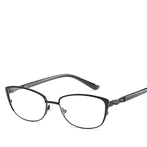 XWYZY Gafas de Lectura, Moda Vintage Metal Lectura Gafas Mujeres Ligeras Lightweight Lection Gafas (Color : +200, Size : C1 Black)