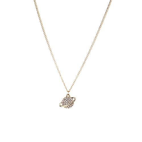 Drreny Golden Fashion Simple Planet Collar De Oro Y Plata Aleación Punto De Perforación Cadena De Clavícula Modelos Salvajes Simples