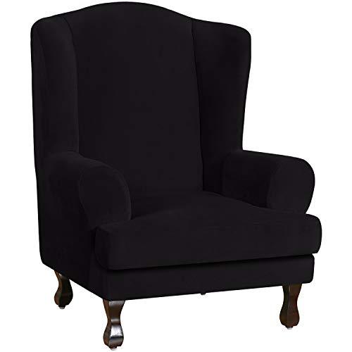 E EBETA Samt-Optisch Sesselbezug, Sessel-Überwürfe Ohrensessel Überzug Bezug Sesselhusse Elastisch Stretch Husse für Ohrensessel (Schwarz)