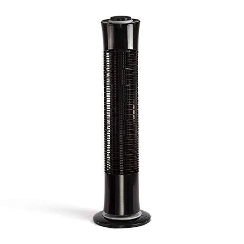 Turmventilator mit Timer Ventilator Standventilator Leise Schwarz Standlüfter (Oszillierend, 3 Stufen, 45 Watt, Windmaschine, Höhe 77 cm)