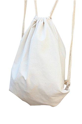 Vococal Toile Sac à Dos Cordon Portable Pliable Unisexe Pure Color Blanc,34.5 x 40cm(W x H)