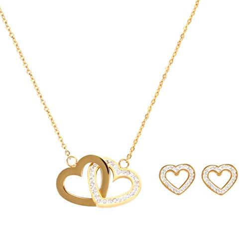 nbvmngjhjlkjlUK Ineinandergreifende Herzkette mit Kette, ineinandergreifende Herzkette Doppelte Liebesherzförmige Strasshalsband-Halskette Diamanthalsketten Weibliche Schlüsselbeinkette (Gold)