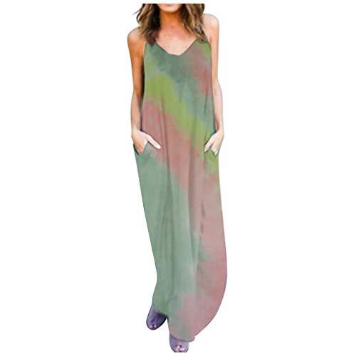 bobo4818 Tailliertes Sommerkleid Damen Mode Beiläufig Lose Sexy Schlinge Ärmellos Batikkleid mit Tasche Freizeitkleid Ärmellos Vestkleid Shirtkleid (Medium, Gray)