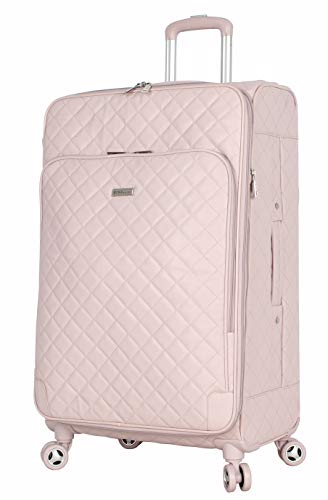 BCBGeneration Designer Luggage Collection - Expandable 24 Inch Softside Suitcase - Lightweight Midsize Checked Bag with 8-Rolling Spinner Wheels (24in, Quilt Pink)
