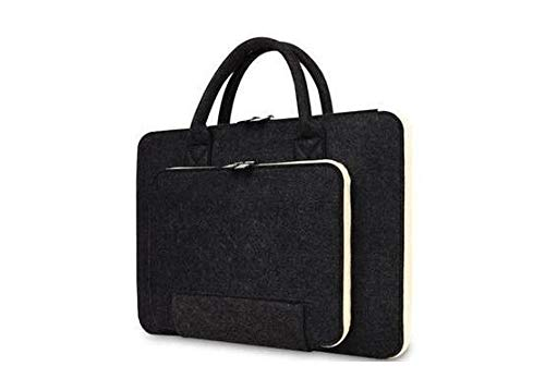 Briefcase 11/13/15.6/17 Inch Laptop Bag, Felt Laptop Sleeve Notebook Computer Case Carrying Bag Pouch with Handle for Asus/Lenovo (Color : Black, Size : 15.6)