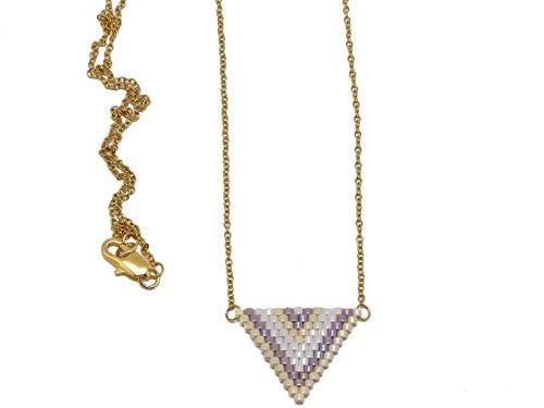 Halskette Japanische Perlen Weiß Lila Beige Dreieck Weben Chevron Kette Edelstahl personalisierte Geschenke Weihnachten Geburtstag Hochzeit Zeremonie Muttertag Paare