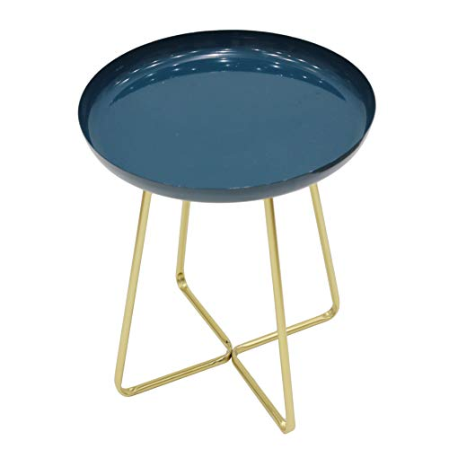 THE HOME DECO FACTORY HD6411 Table D'appoint Plateau Rond Glossy Bleu, Acier INOX, 35 x 35 x 45 cm