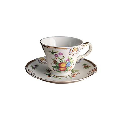 SXXYTCWL Taza de café Estilo Palacio Taza de café y platillo Conjunto Latte Cappuccino Tazas de café de la Pintura al óleo de Oro Modelo de Desayuno Taza de Agua Taza de Agua Barista Taza 180ml