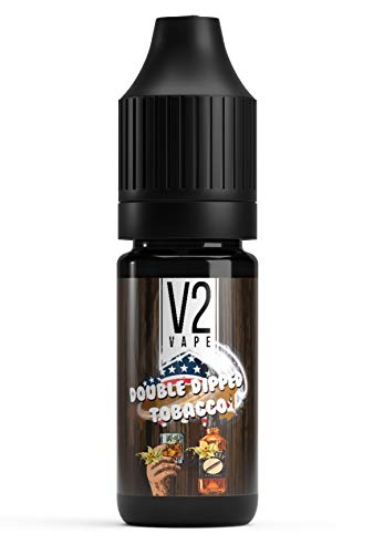 V2 Vape US Double Dipped Tobacco - Whiskey & Vanille Tabak USA-Style AROMA / Konzentrat für E-Liquid 0mg nikotinfrei - 10ml