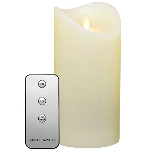Tronje 19cm LED Kerze mit Timer u. Fernbedienung - Leuchtdauer 1000 Std. Echtwachskerze mit beweglicher Flamme Creme-Weiß