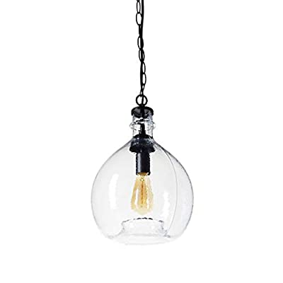 CASAMOTION Wavy Hammered Hand Blown Glass Pendant Light, 1 Hanging Light, 13'' diam.19.9''h, Clear
