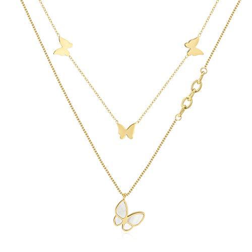 Qings Madreperla Farfalla Collana da donna 14K Placcato oro Collana con Ciondolo Farfalla Regolabile per Donne e Ragazze